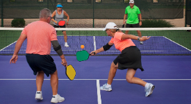 People playing pickleball.