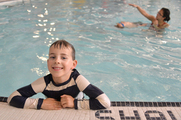Child in swimming lessons