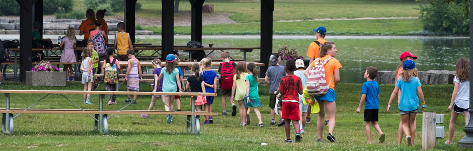 Image of camp kids Walking in park