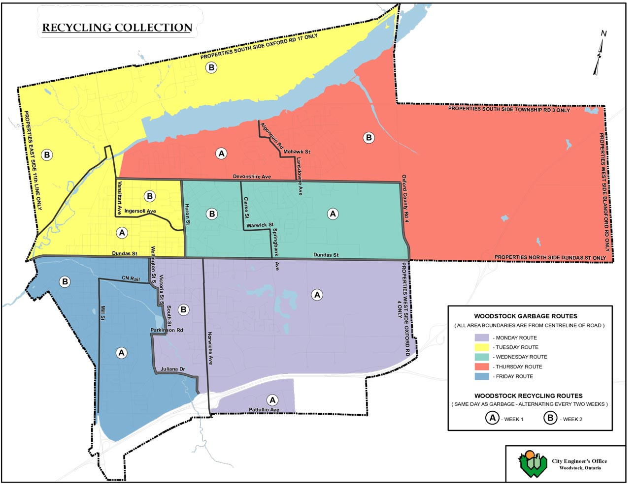 Garbage and Recycling Region Map