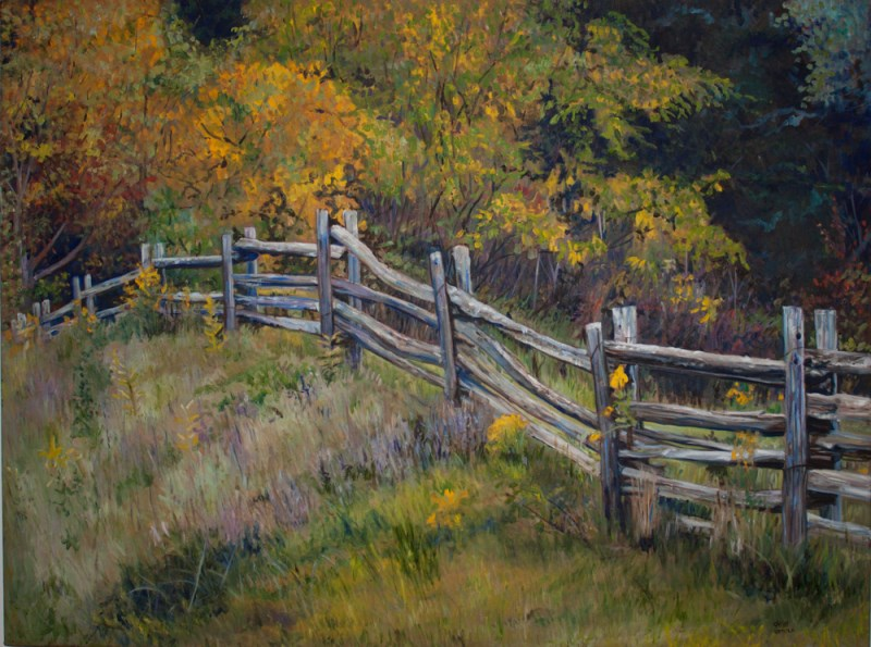 Painting of a split rail fence in a field surrounded by trees