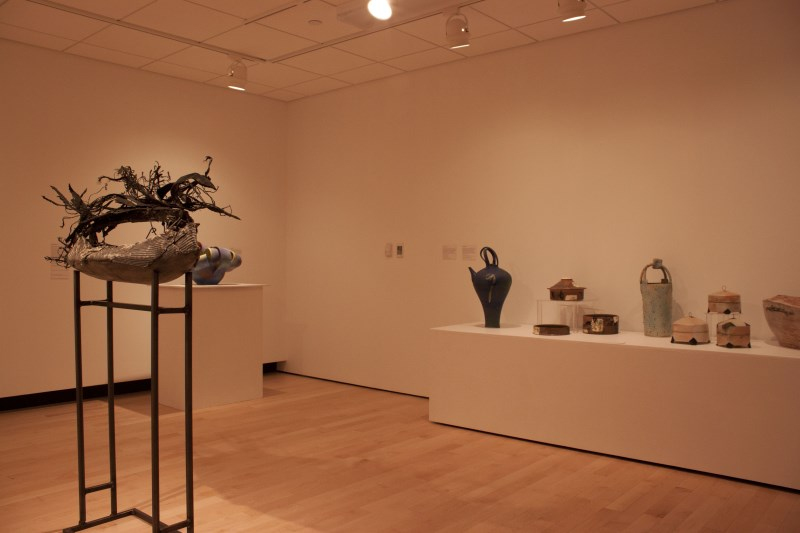 Ceramic artwork on display in a gallery