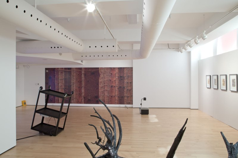 Art gallery space with artwork hanging on the walls and metal sculptures