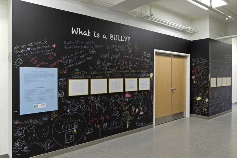 Chalkboard wall with messages written under the heading What is a Bully?